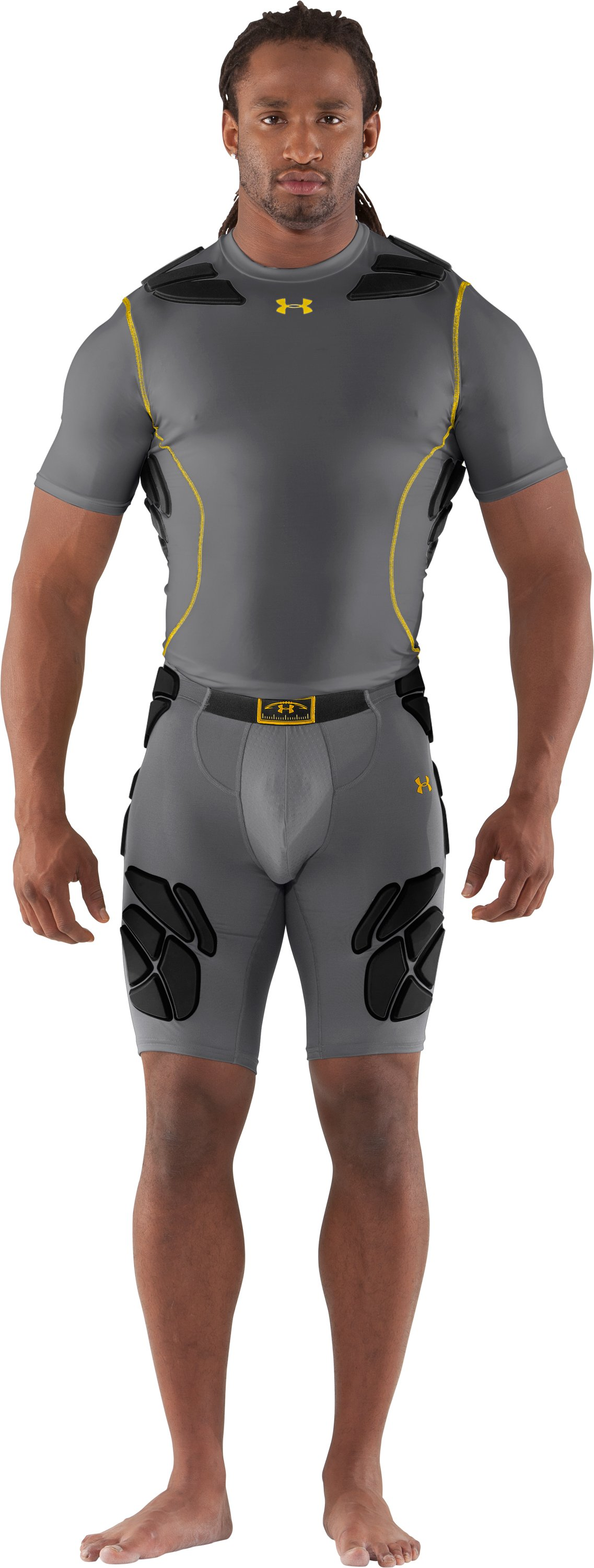 Men's Gameday Armour® Girdle, Graphite, Front
