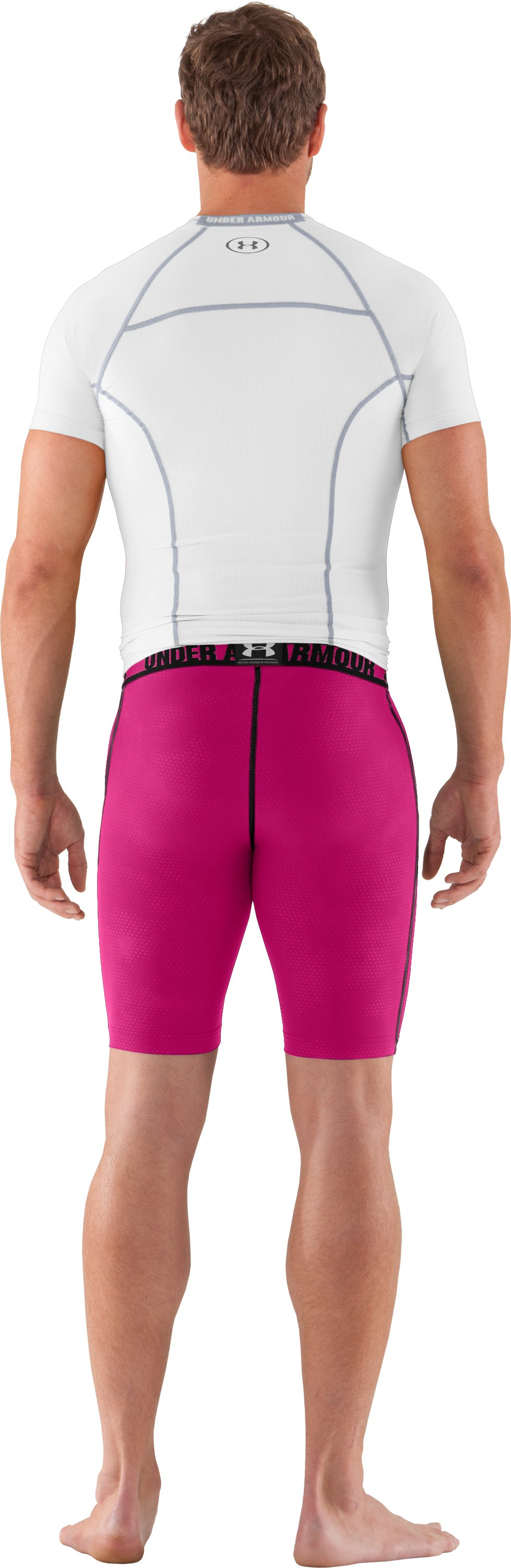 Men's HeatGear® Renegade Compression Shorts, Tropic Pink, Back