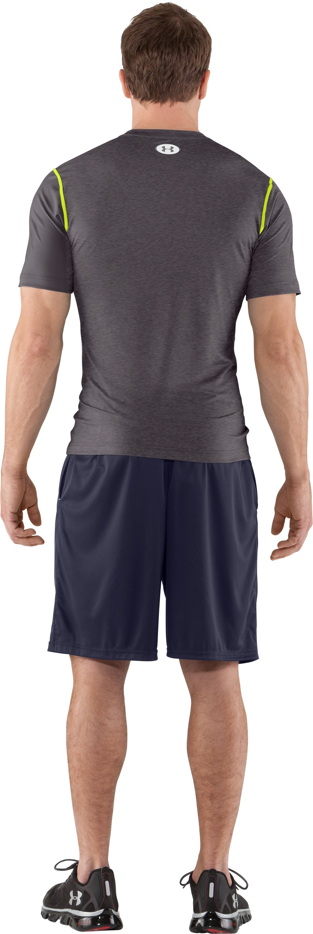 Men's HeatGear® Sonic Fitted Short Sleeve, Carbon Heather, Back