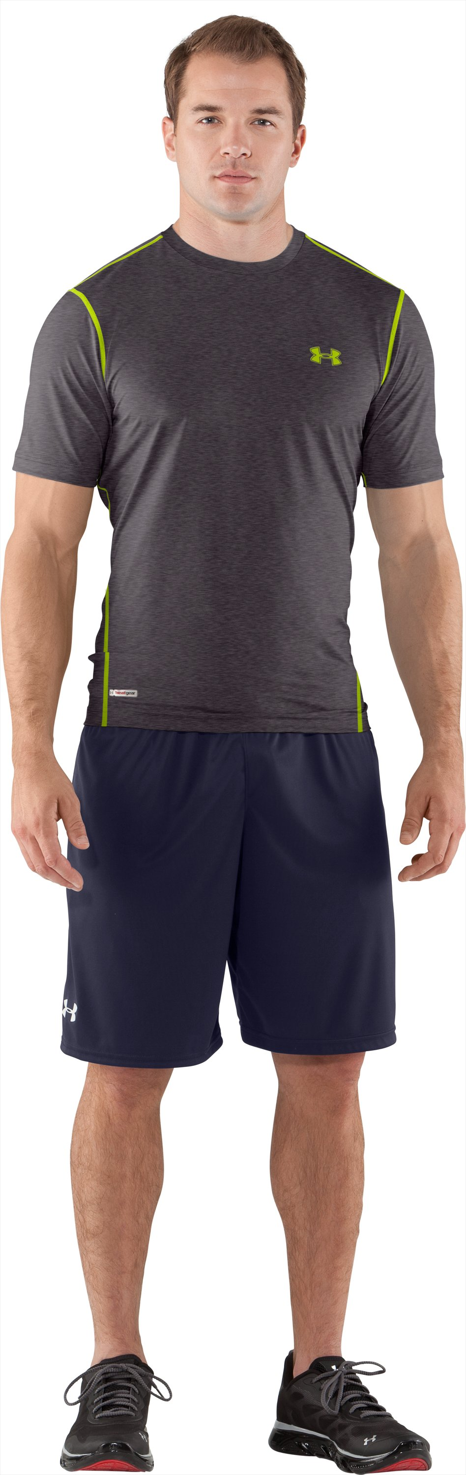 Men's HeatGear® Sonic Fitted Short Sleeve, Carbon Heather, Front