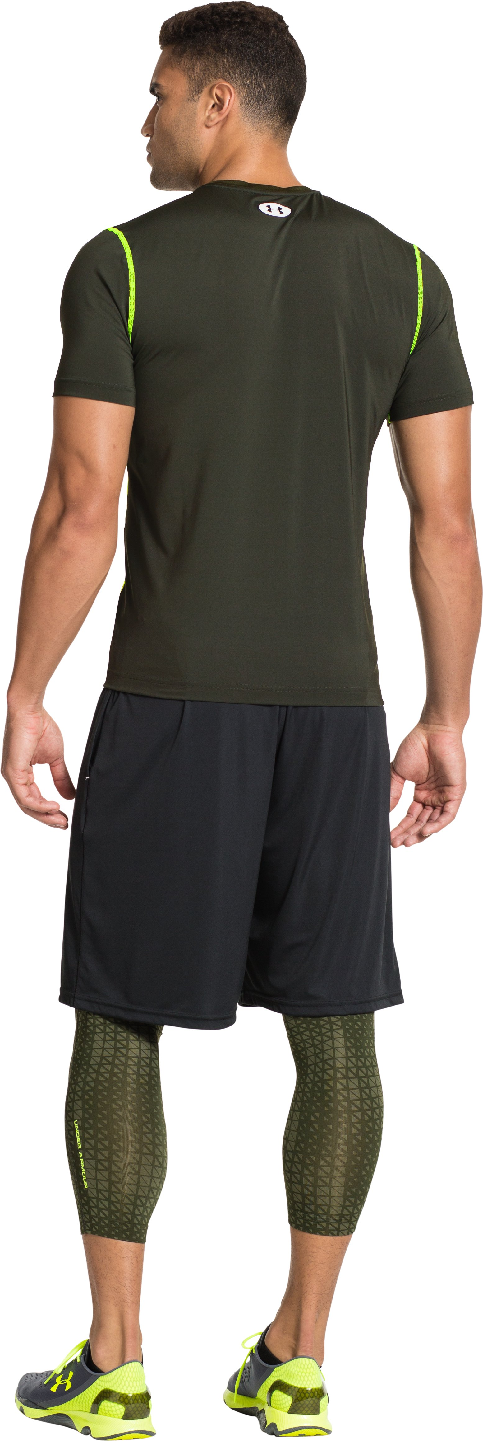 Men's HeatGear® Sonic Fitted Short Sleeve, Rifle Green, Back