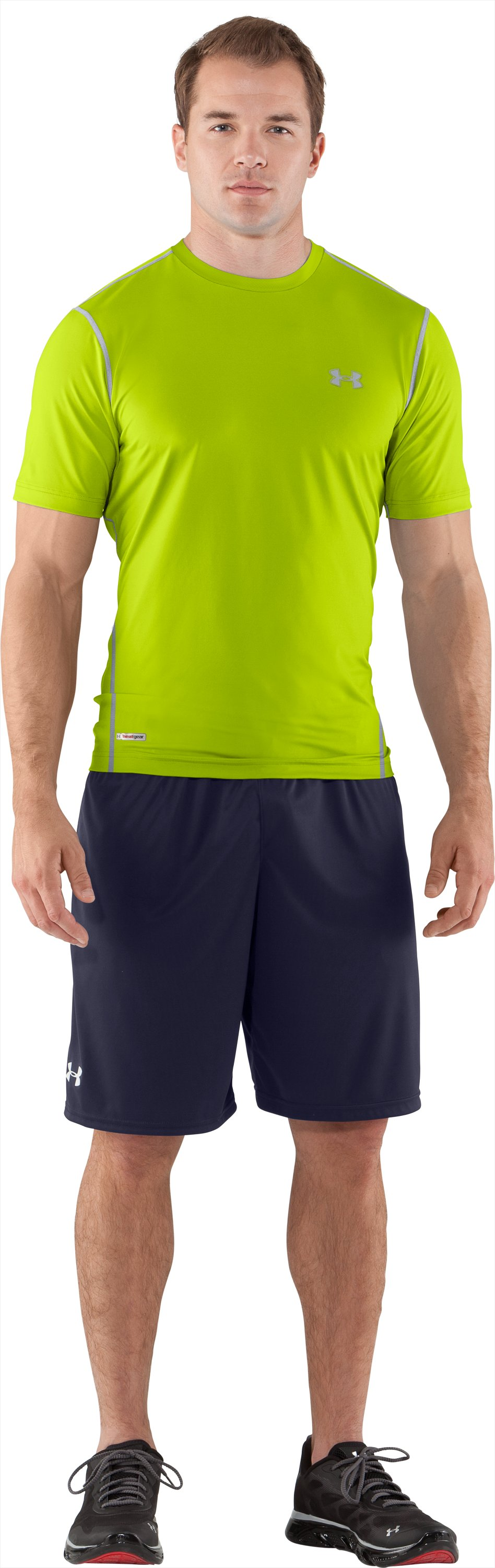 Men's HeatGear® Sonic Fitted Short Sleeve, Velocity, Front