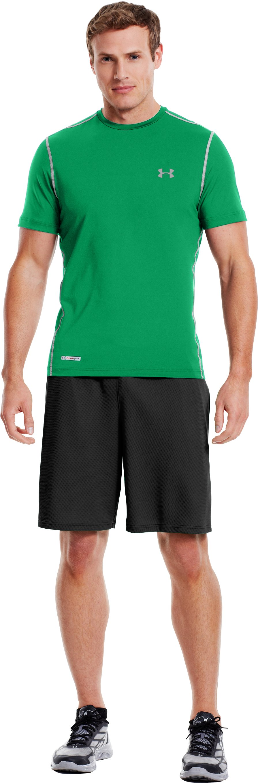 Men's HeatGear® Sonic Fitted Short Sleeve, ASTRO GREEN, Front