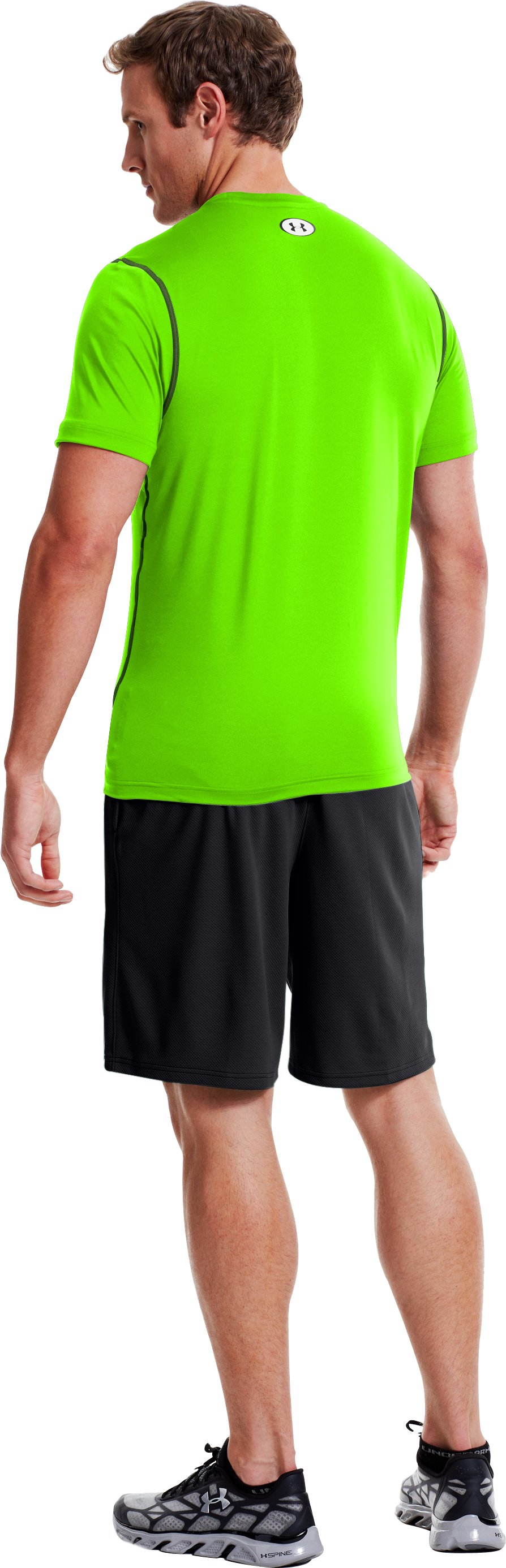 Men's HeatGear® Sonic Fitted Short Sleeve, HYPER GREEN, Back