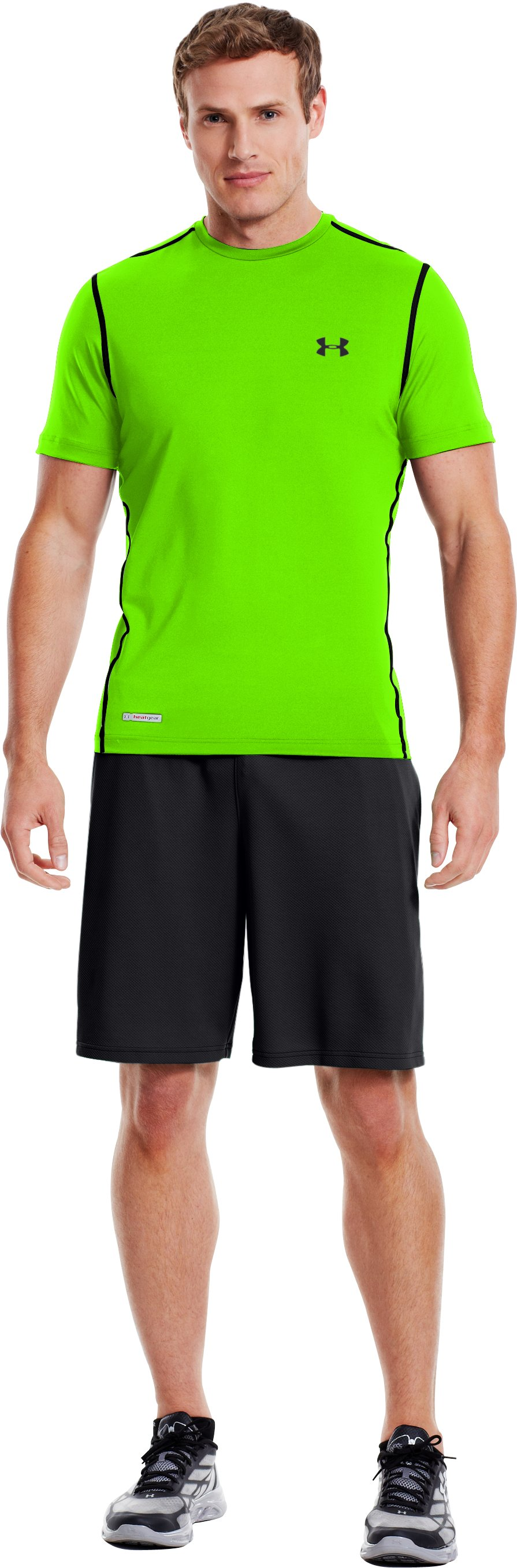 Men's HeatGear® Sonic Fitted Short Sleeve, HYPER GREEN, Front