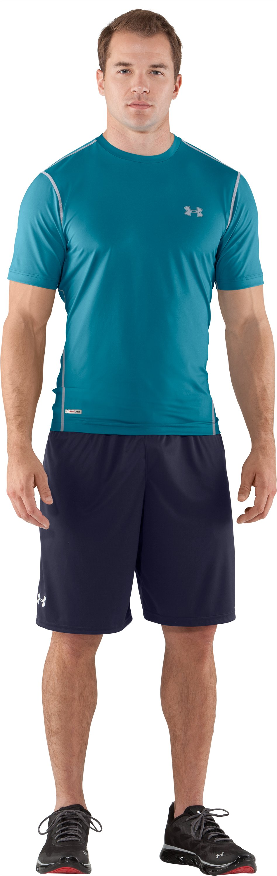 Men's HeatGear® Sonic Fitted Short Sleeve, Capri, Front