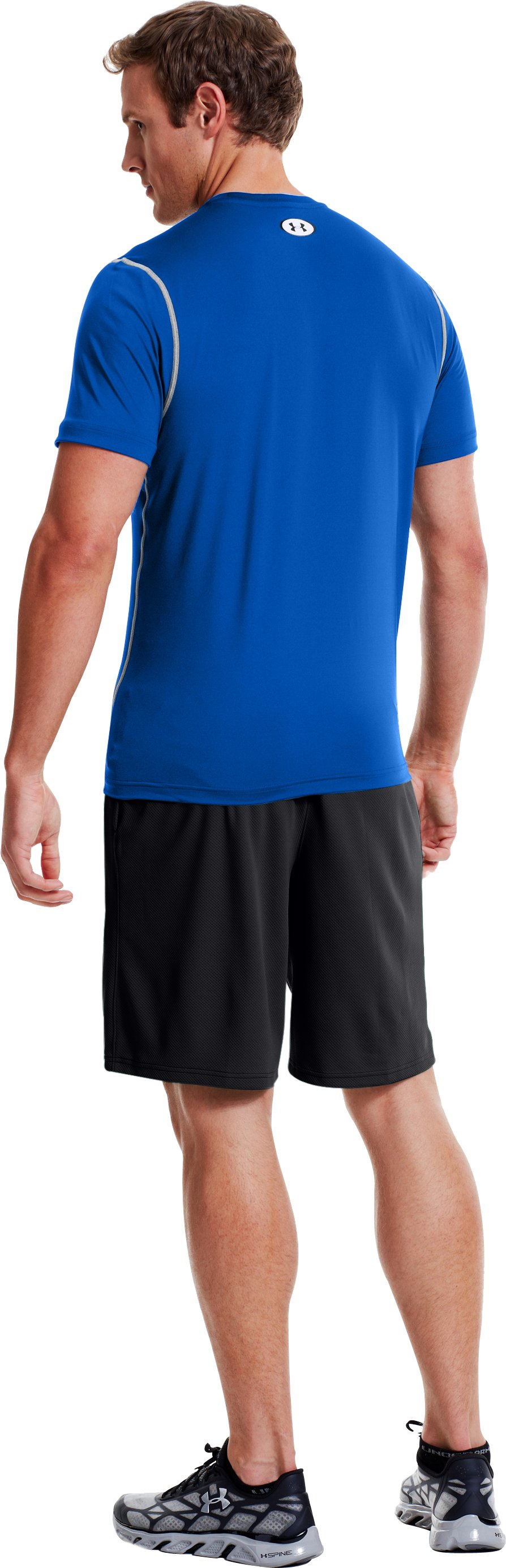 Men's HeatGear® Sonic Fitted Short Sleeve, Moon Shadow, Back