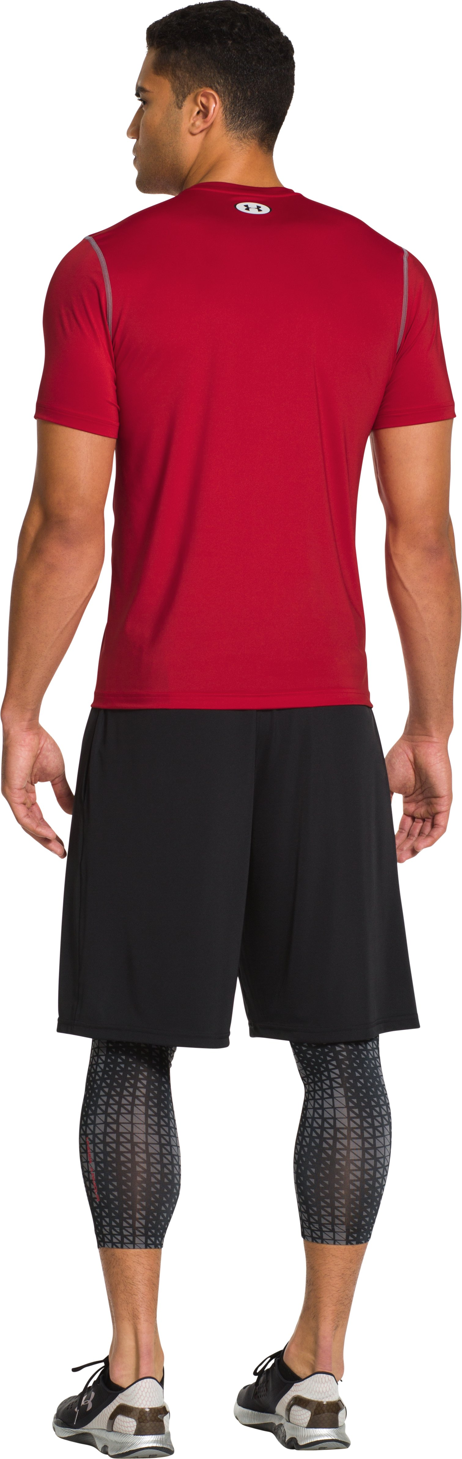 Men's HeatGear® Sonic Fitted Short Sleeve, Red, Back