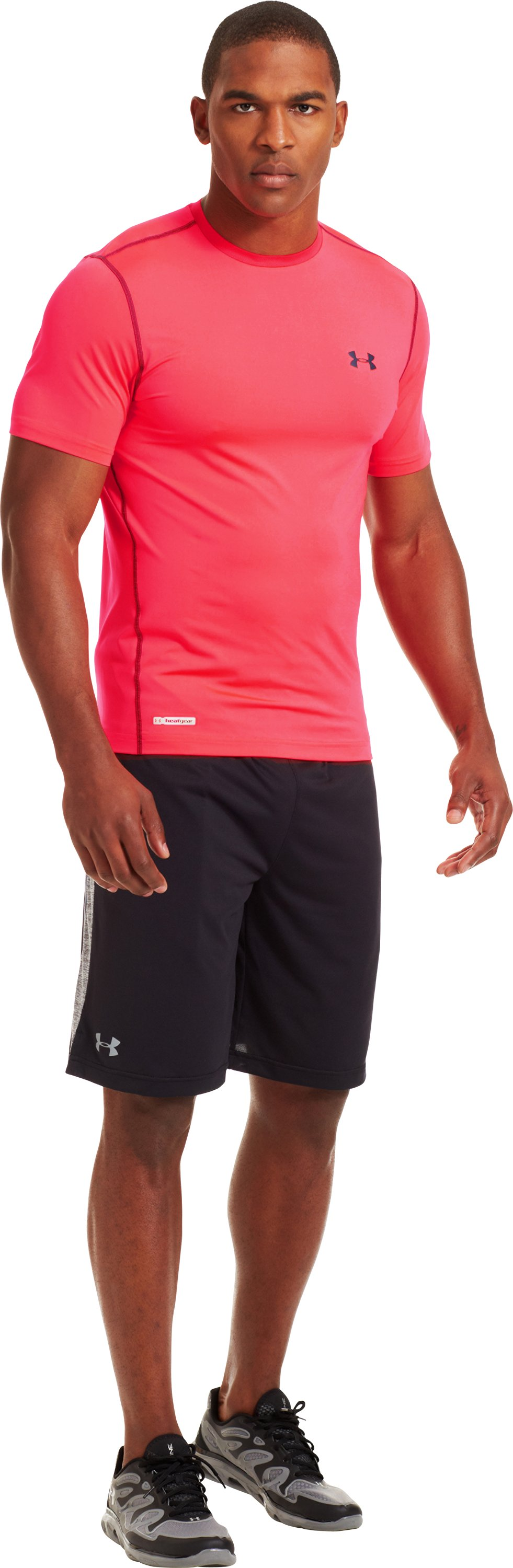 Men's HeatGear® Sonic Fitted Short Sleeve, Neo Pulse, Front