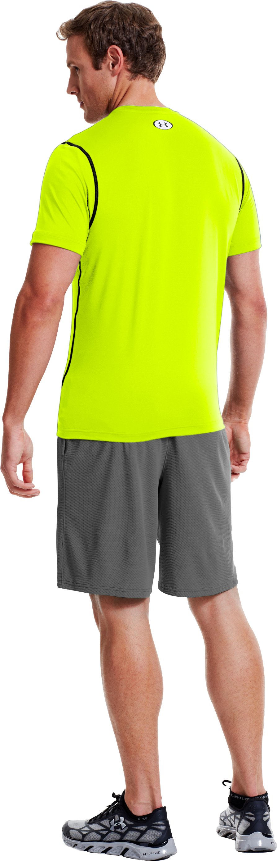 Men's HeatGear® Sonic Fitted Short Sleeve, High-Vis Yellow, Back