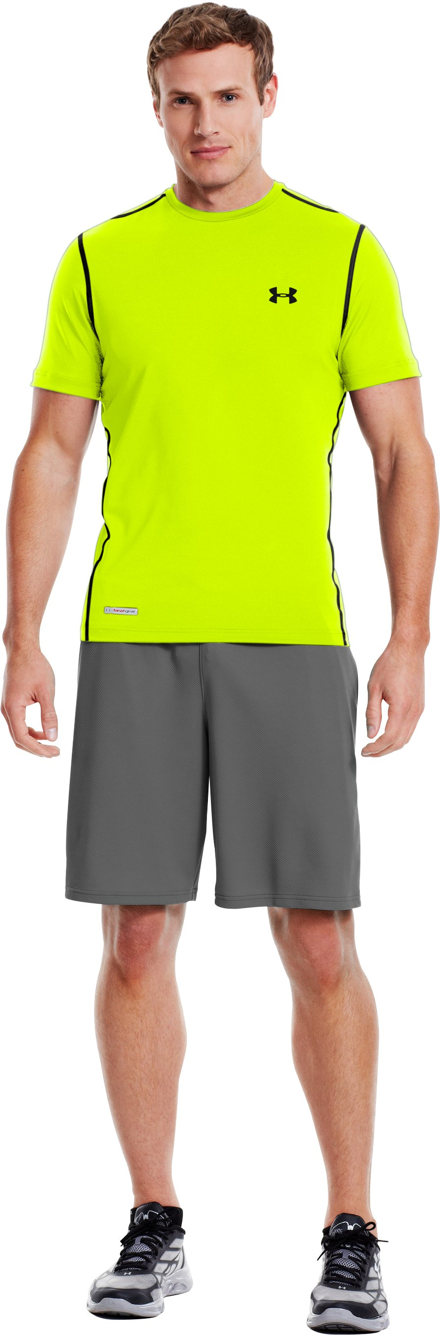 Men's HeatGear® Sonic Fitted Short Sleeve, High-Vis Yellow