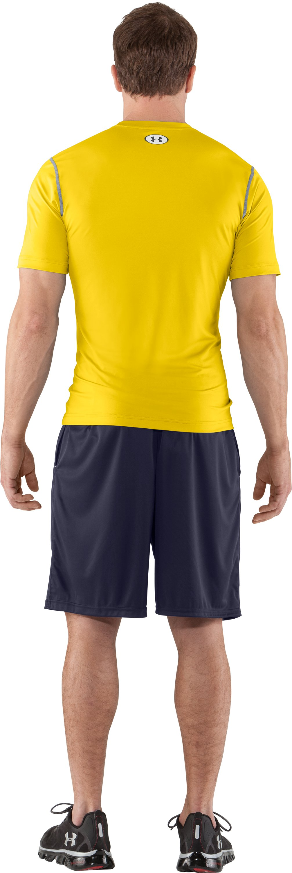 Men's HeatGear® Sonic Fitted Short Sleeve, Taxi, Back