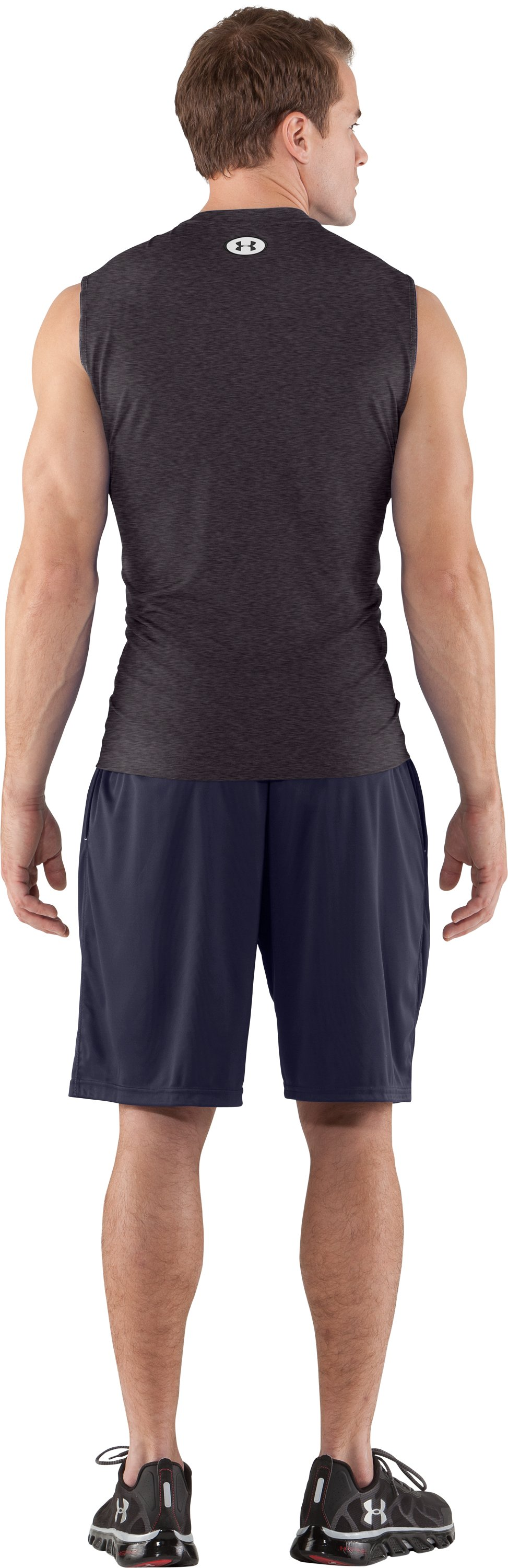 Men's HeatGear® Sonic Fitted Sleeveless, Carbon Heather, Back