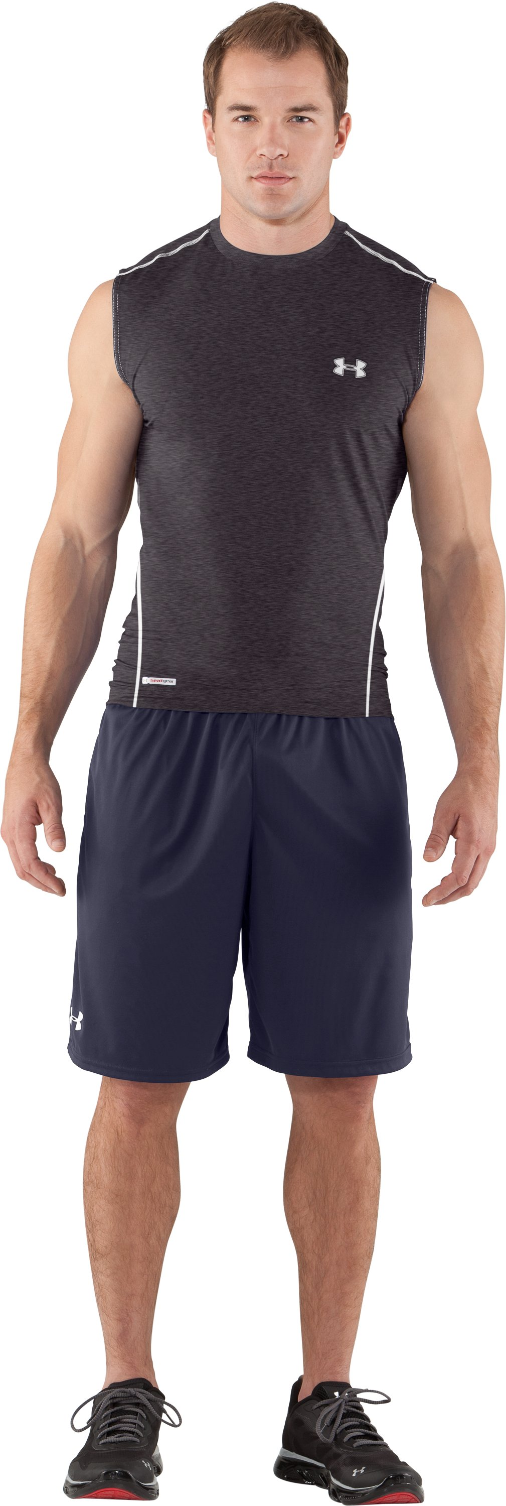Men's HeatGear® Sonic Fitted Sleeveless, Carbon Heather, Front