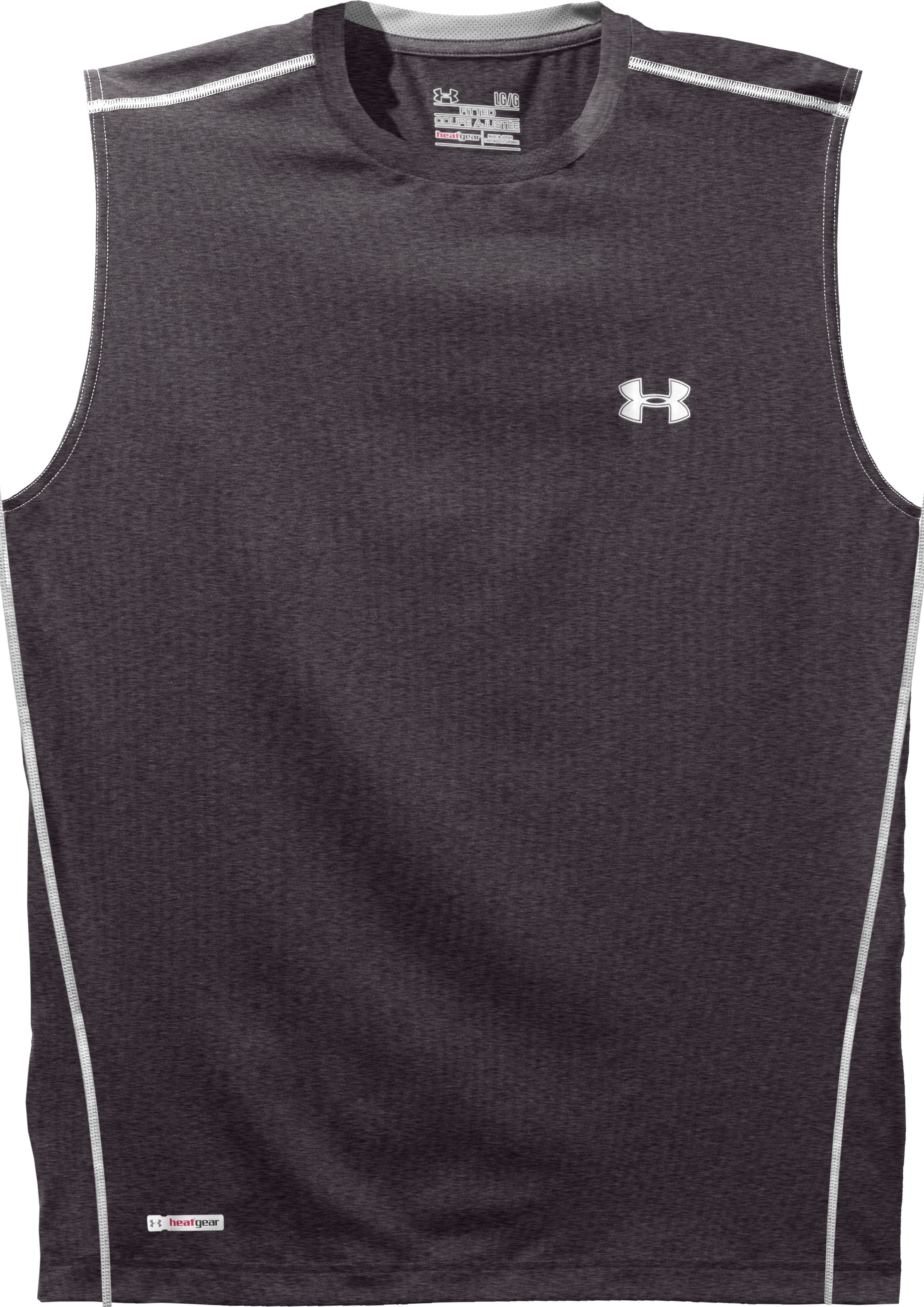 Men's HeatGear® Sonic Fitted Sleeveless, Carbon Heather, Laydown
