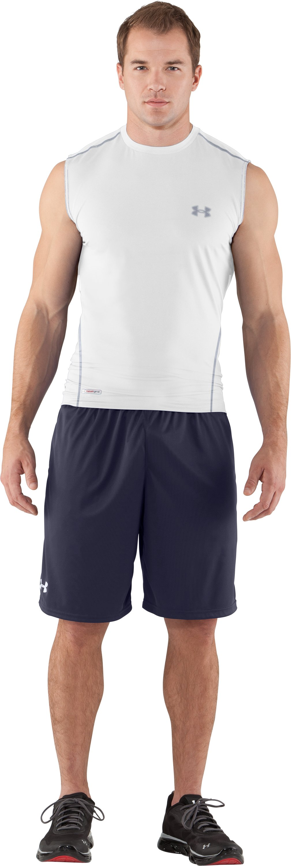 Men's HeatGear® Sonic Fitted Sleeveless, White, Front