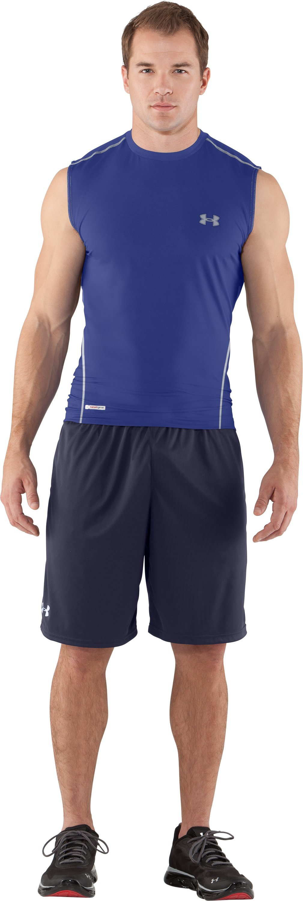 Men's HeatGear® Sonic Fitted Sleeveless, Royal, zoomed image
