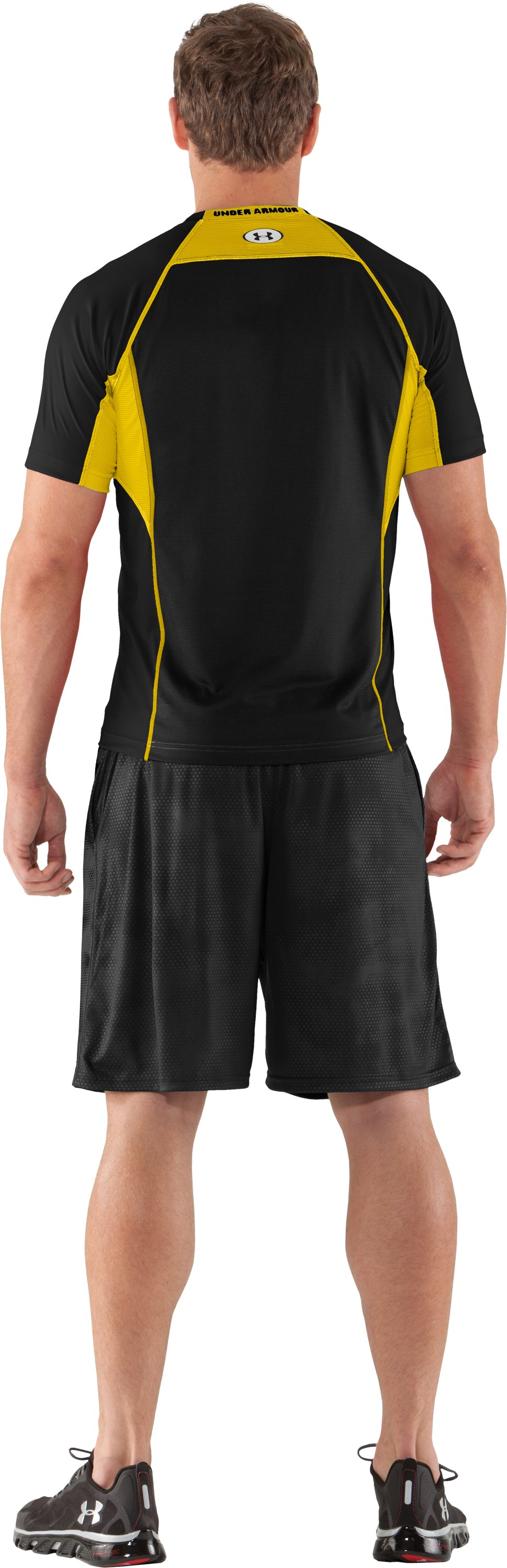 Men's HeatGear® Flyweight Fitted Short Sleeve, Black , Back