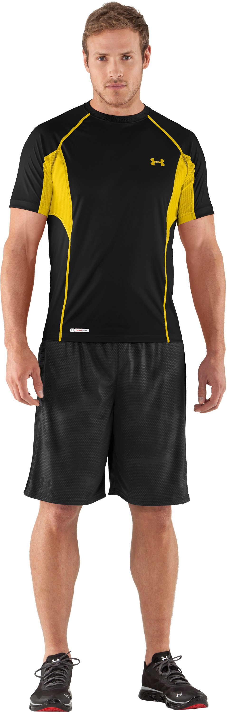 Men's HeatGear® Flyweight Fitted Short Sleeve, Black , Front