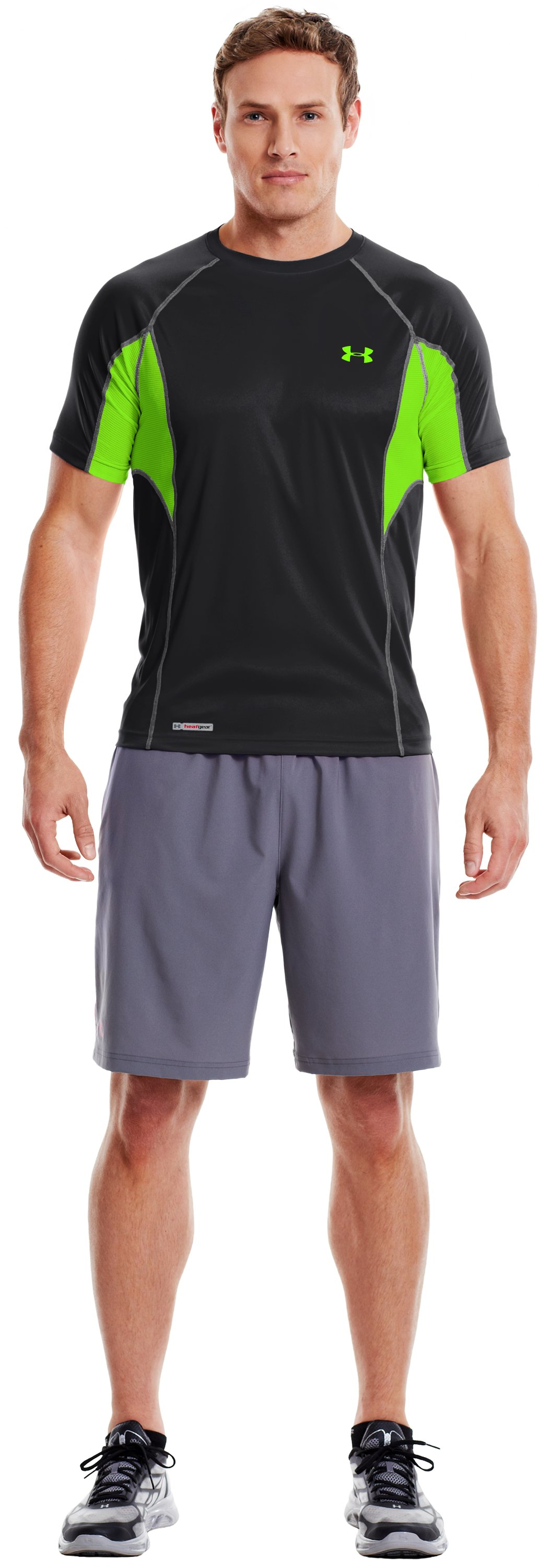 Men's HeatGear® Flyweight Fitted Short Sleeve, Black , zoomed image