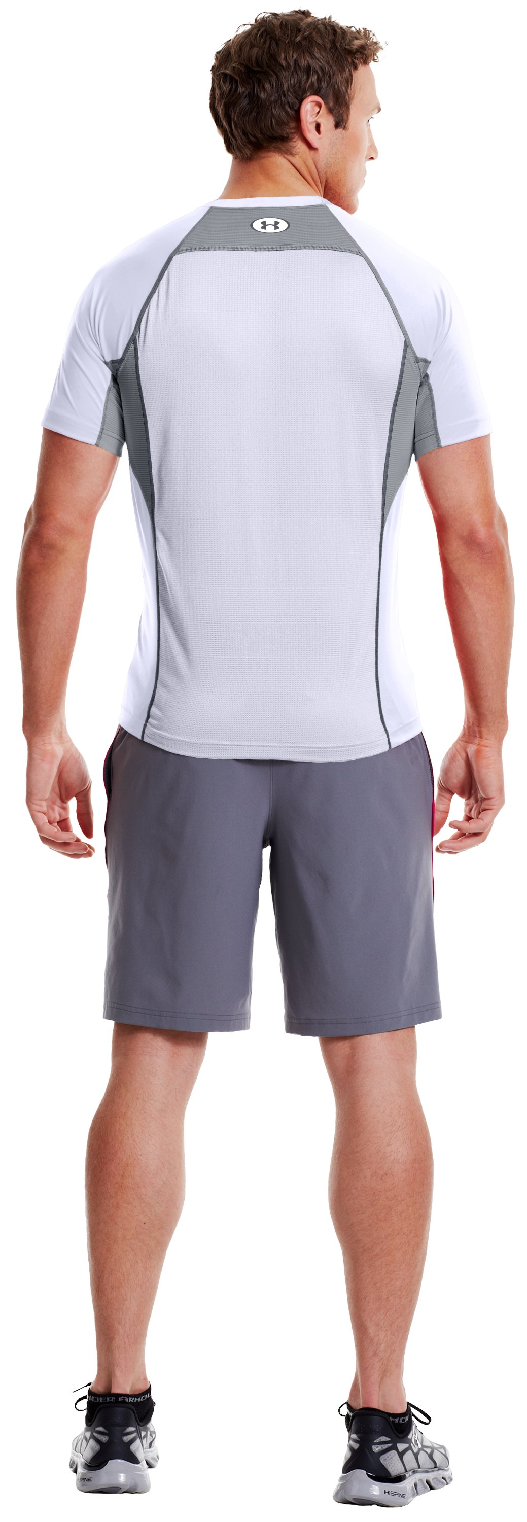 Men's HeatGear® Flyweight Fitted Short Sleeve, White, Back