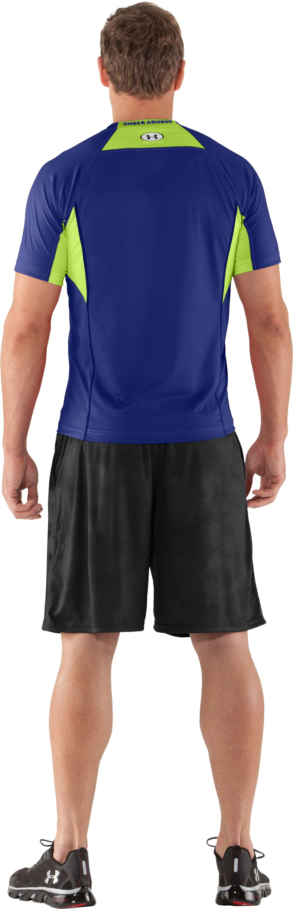 Men's HeatGear® Flyweight Fitted Short Sleeve, Royal, Back