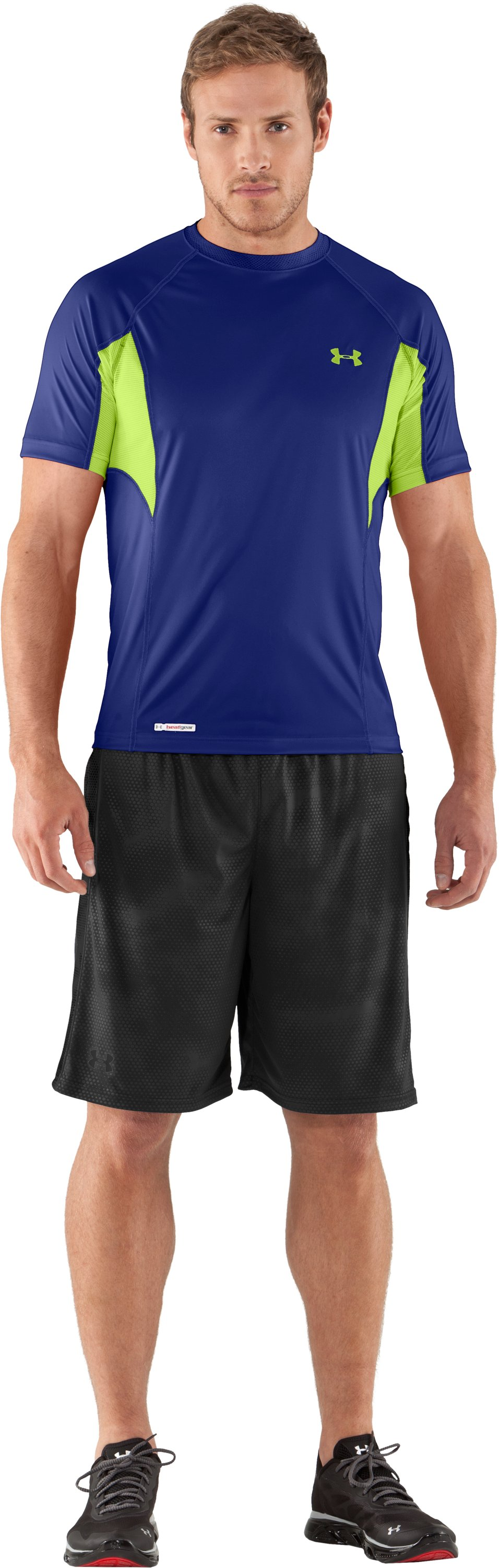 Men's HeatGear® Flyweight Fitted Short Sleeve, Royal, Front