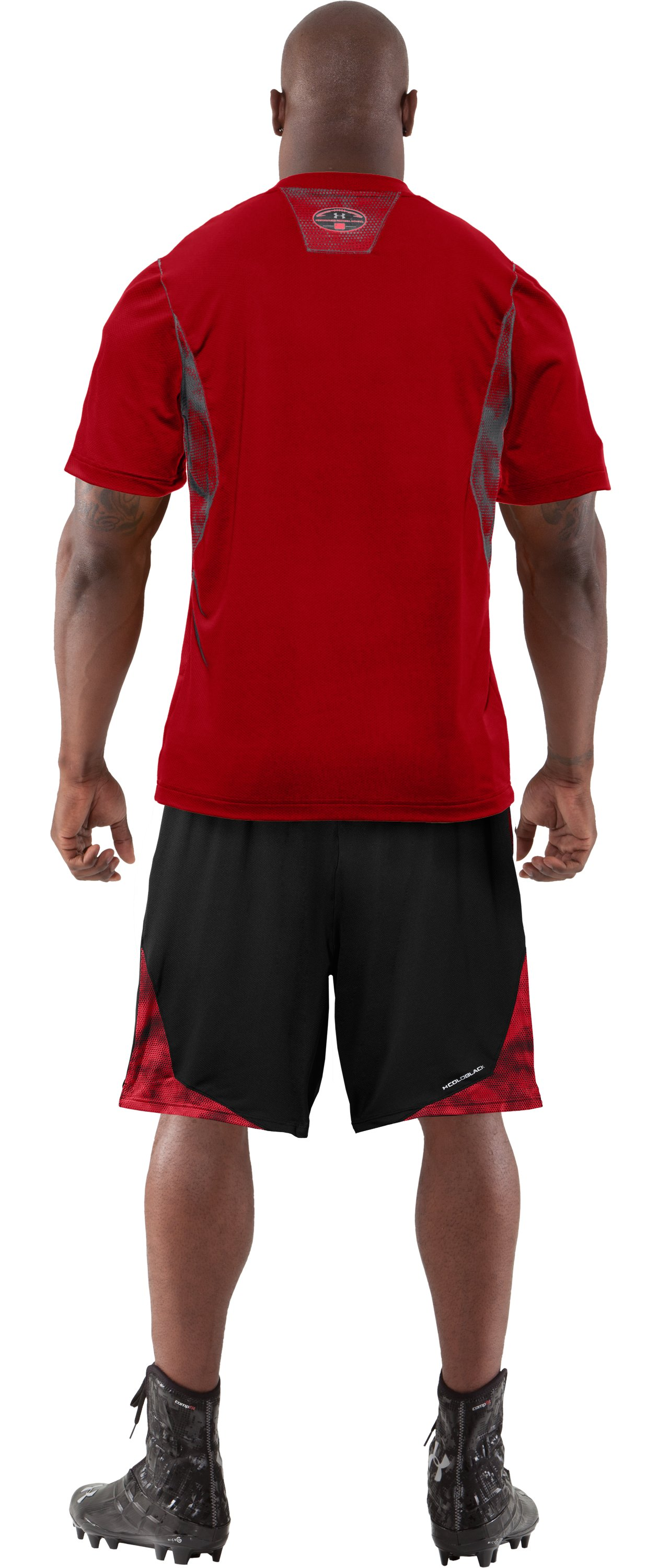 Men's coldblack® 2-A-Day Football T-Shirt, Red, Back