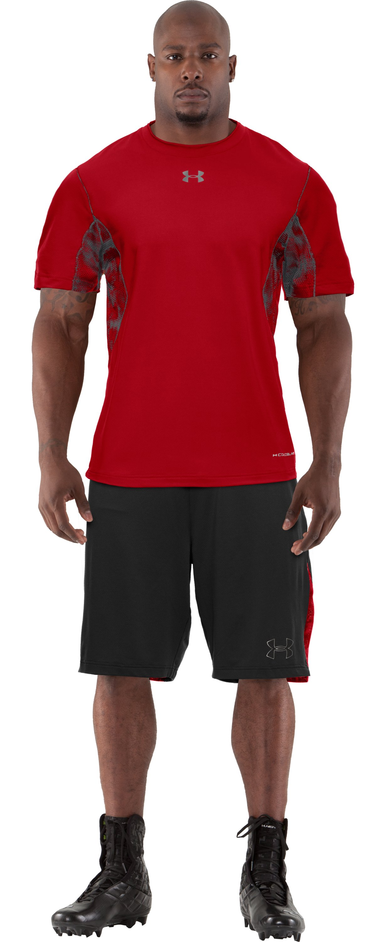 Men's coldblack® 2-A-Day Football T-Shirt, Red, Front