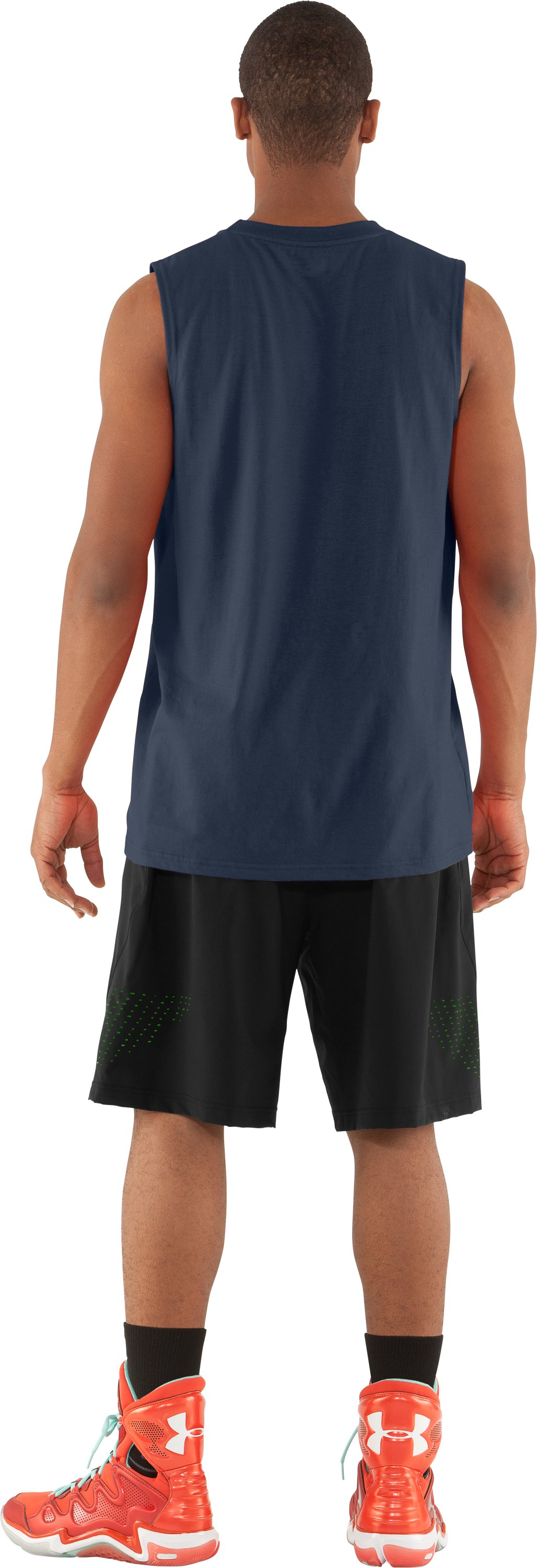 Men's UA Baller Sleeveless T-Shirt, Wire, Back