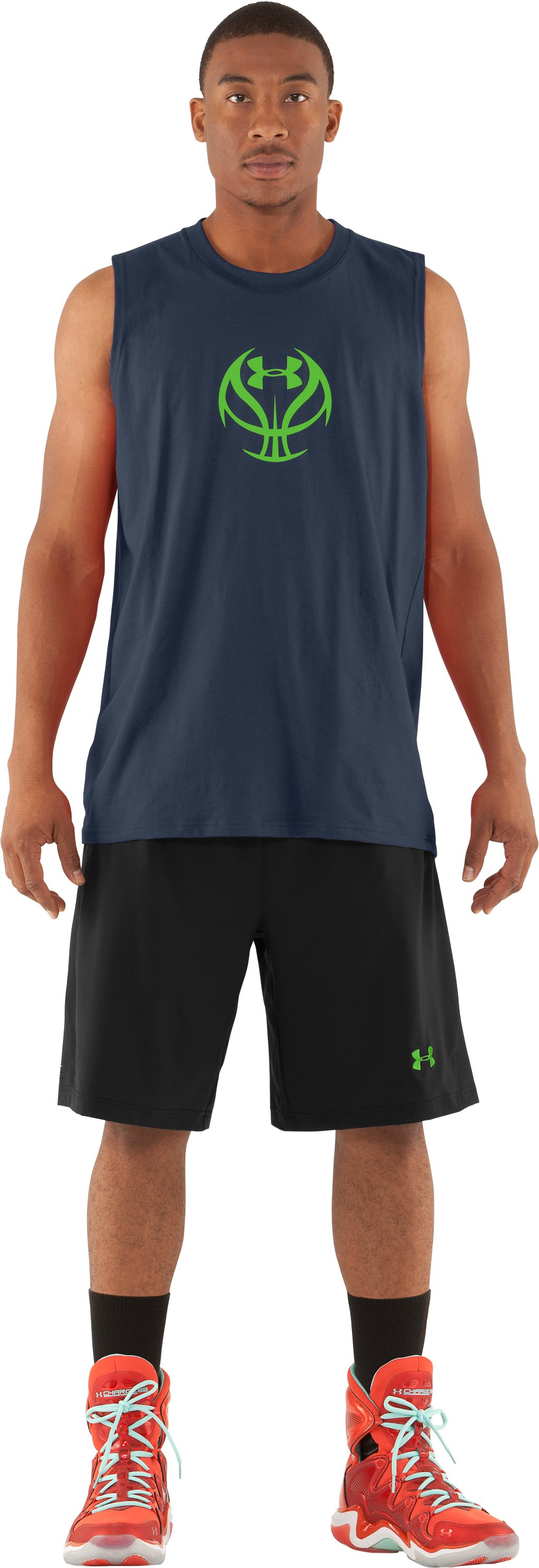 Men's UA Baller Sleeveless T-Shirt, Wire, zoomed image