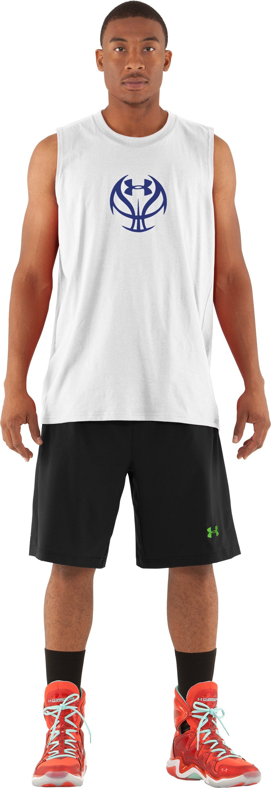 Men's UA Baller Sleeveless T-Shirt, White, Front