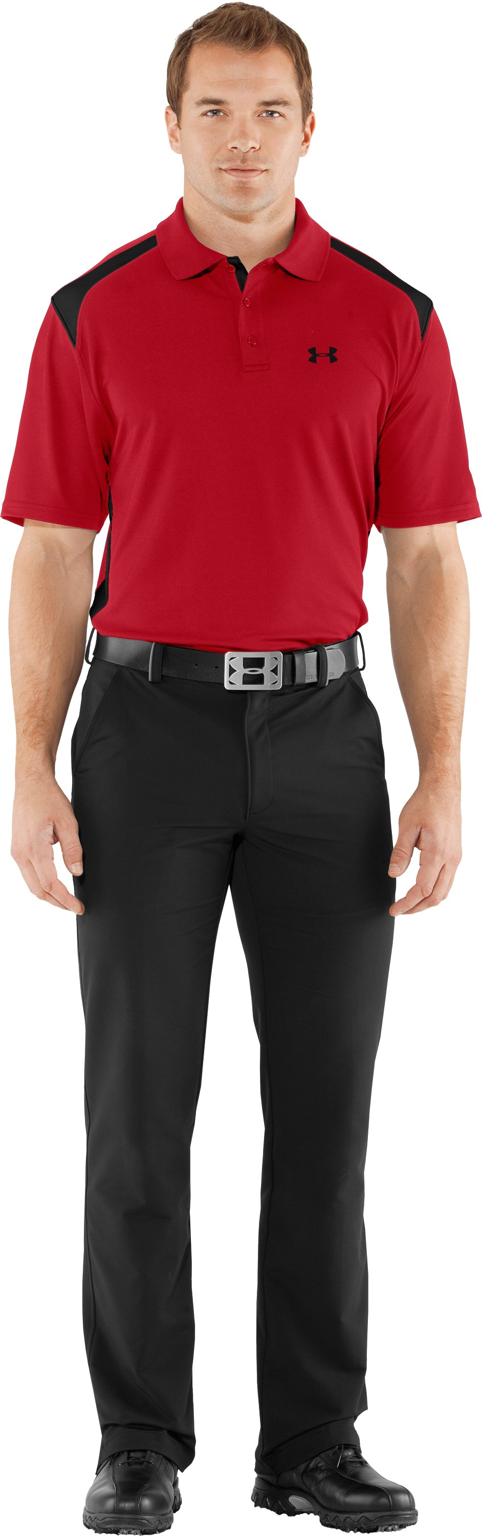 Men's UA Performance Colorblock Polo, Red, Front