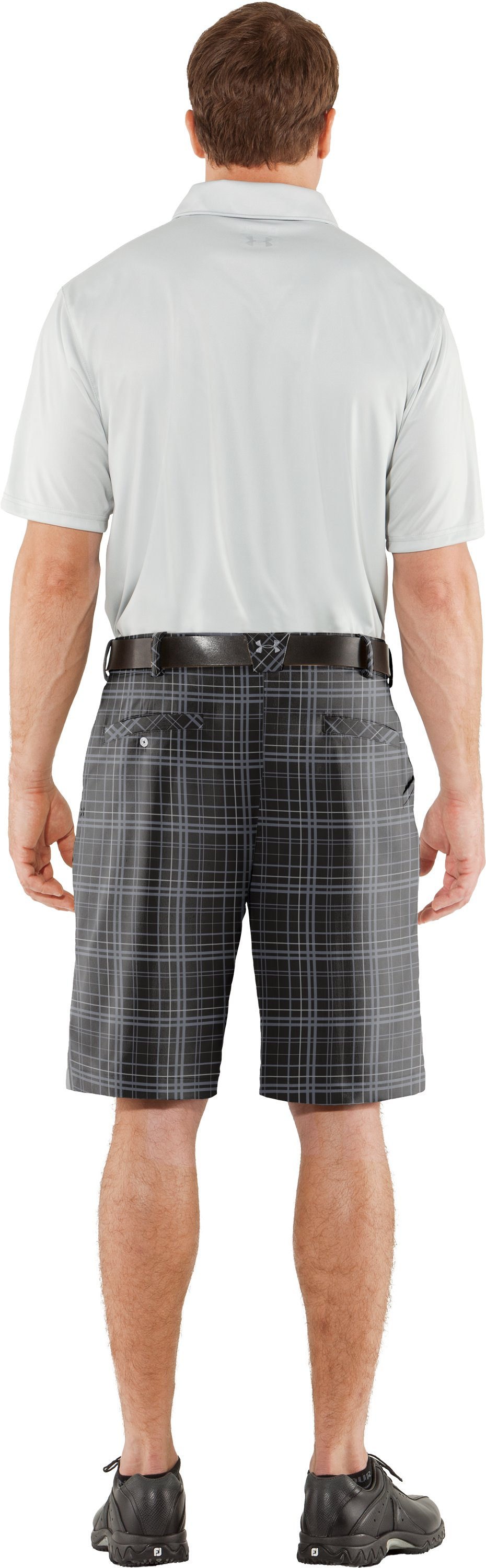 Men's UA Forged Plaid Golf Shorts, Black , Back