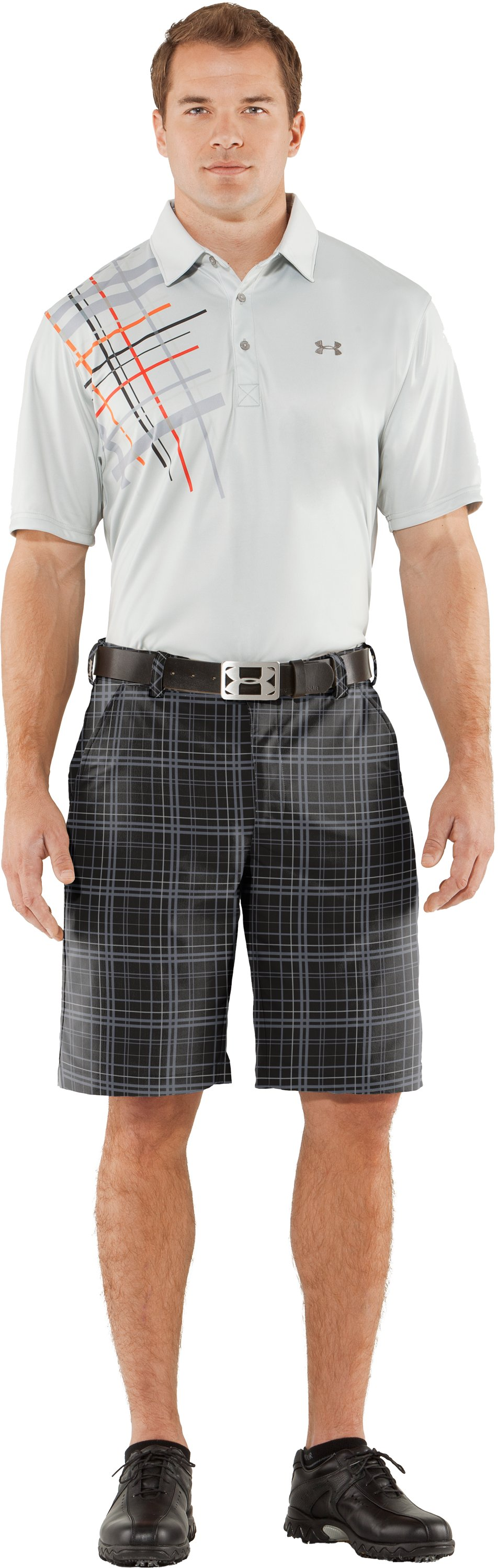 Men's UA Forged Plaid Golf Shorts, Black , Front