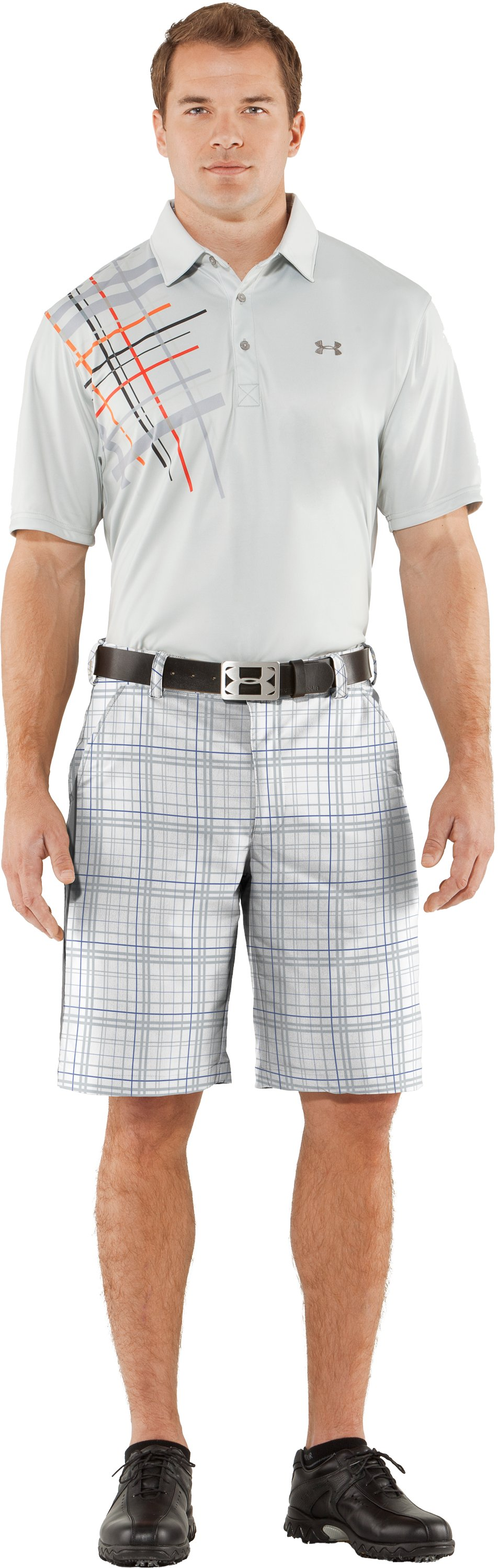 Men's UA Forged Plaid Golf Shorts, White, Front