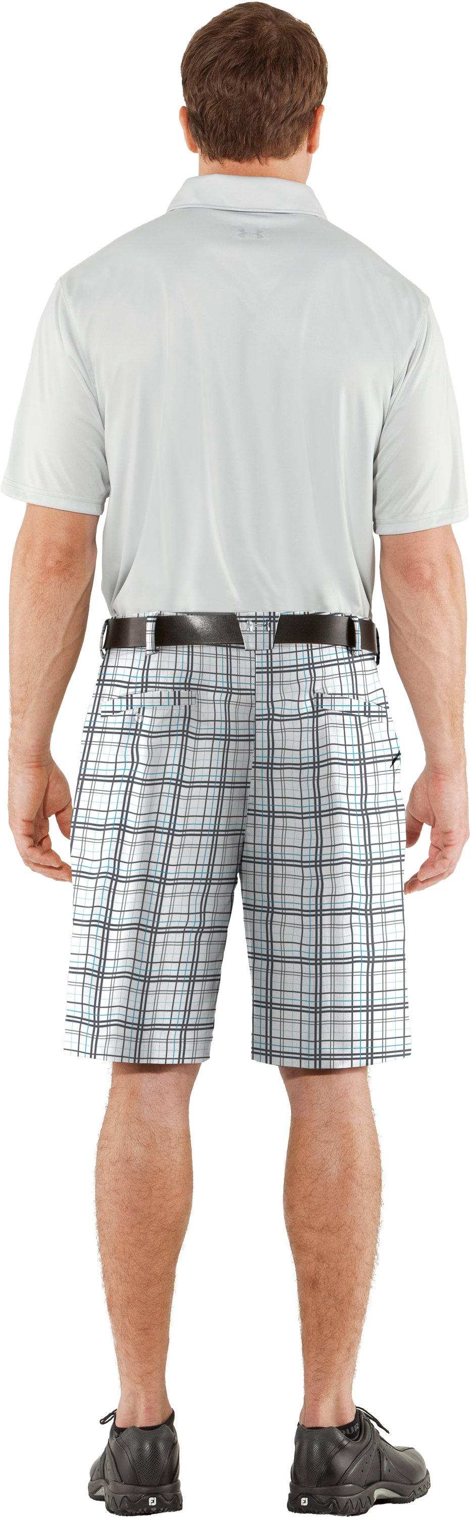 Men's UA Forged Plaid Golf Shorts, White, Back