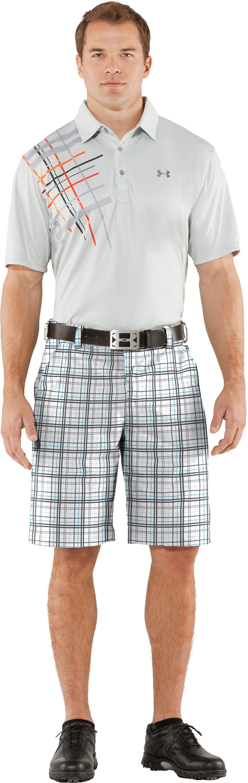 Men's UA Forged Plaid Golf Shorts, White, zoomed image