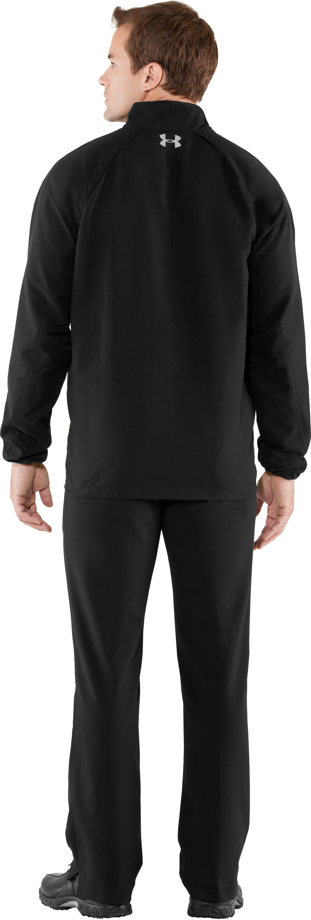 Men's UA Windstorm Long Sleeve Windshirt, Black , Back