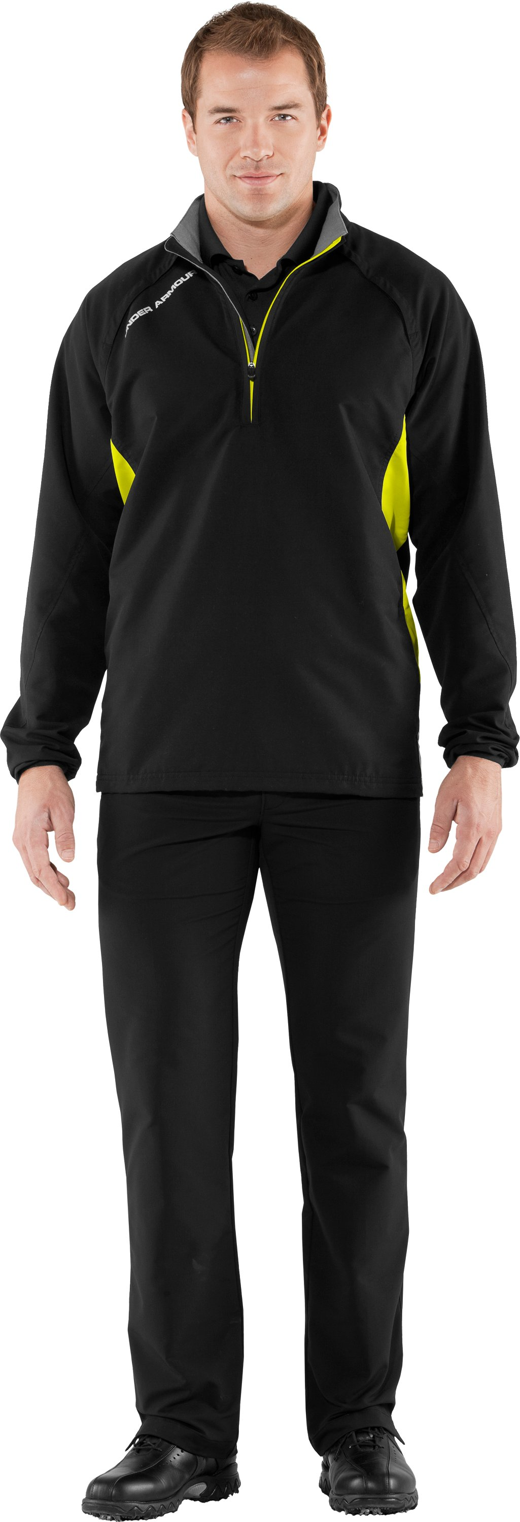 Men's UA Windstorm Long Sleeve Windshirt, Black , Front