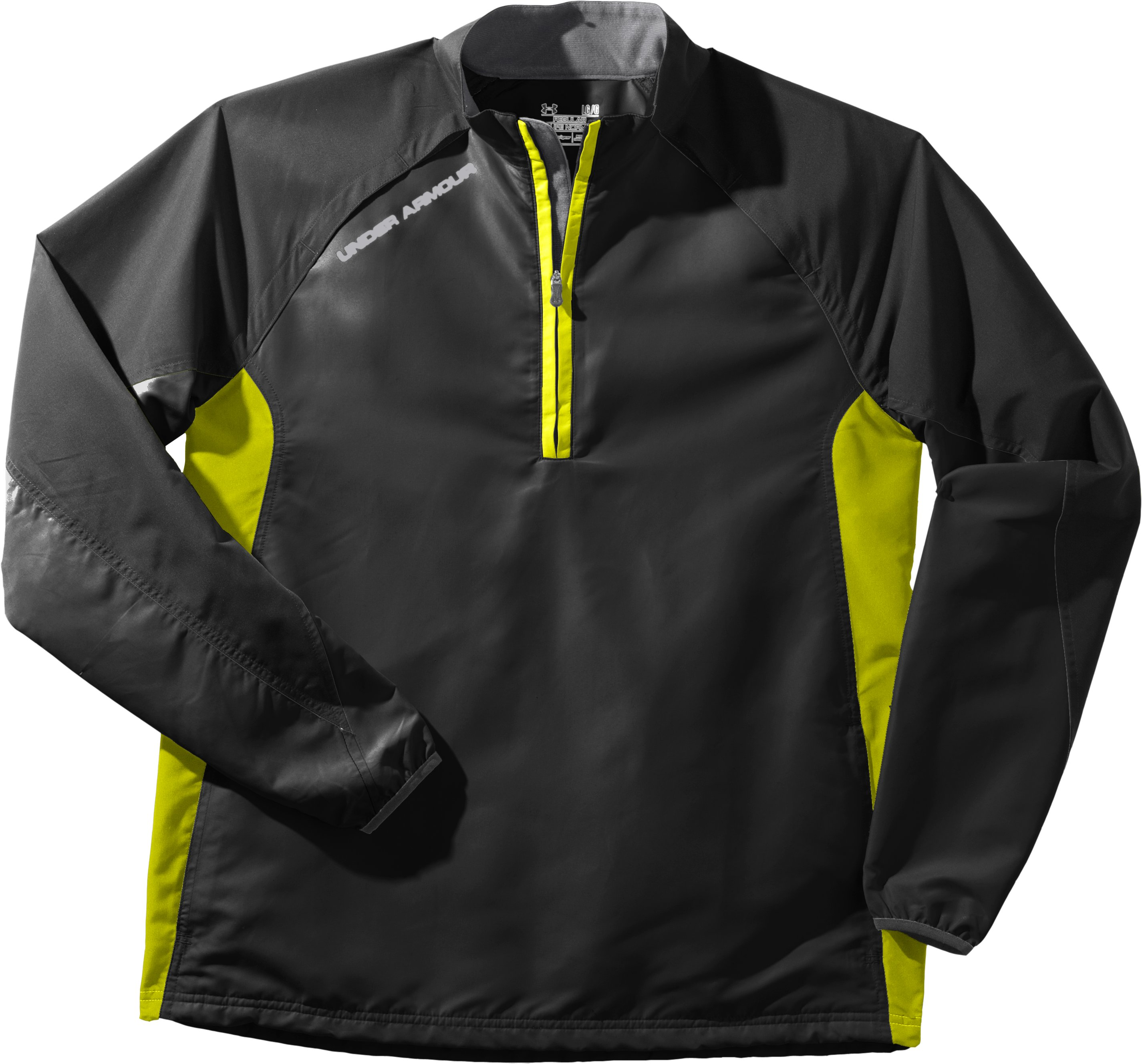Men's UA Windstorm Long Sleeve Windshirt, Black , Laydown