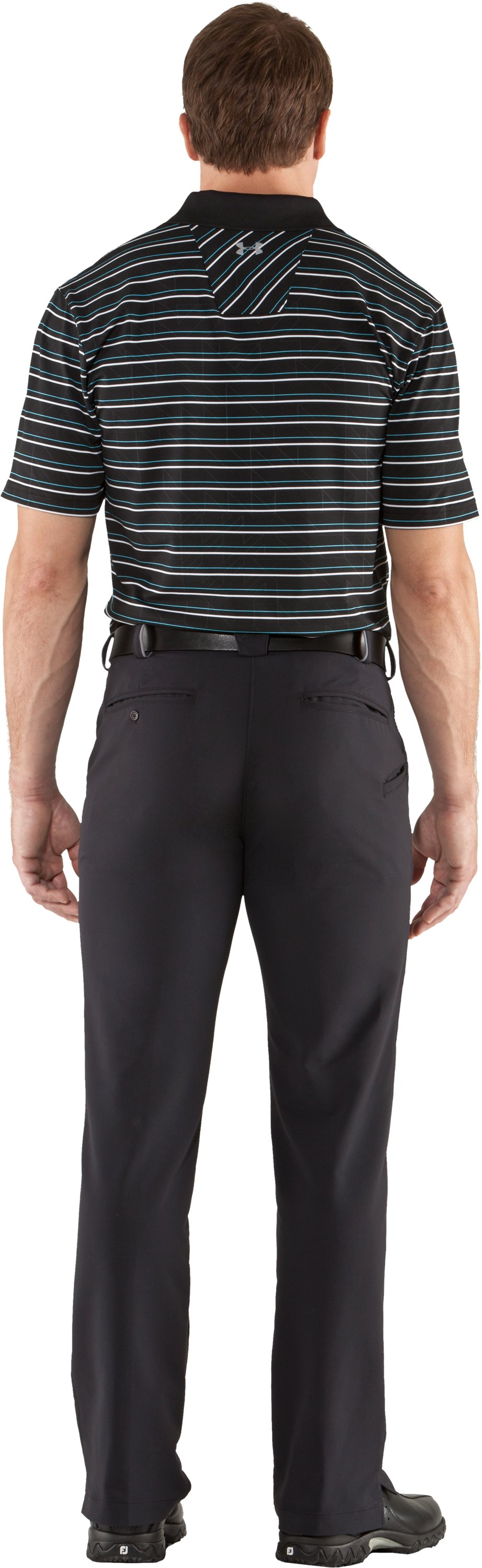 Men's UA Performance Embossed Stripe Polo, Black , Back
