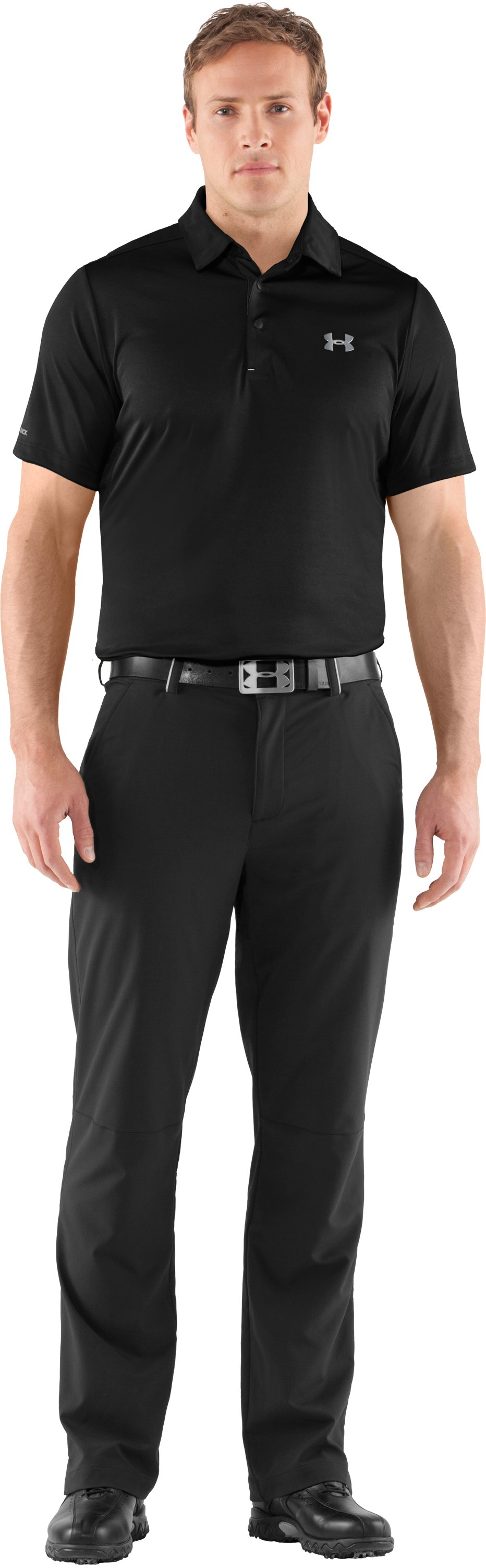 Men's coldblack® Player Polo, Black , Front