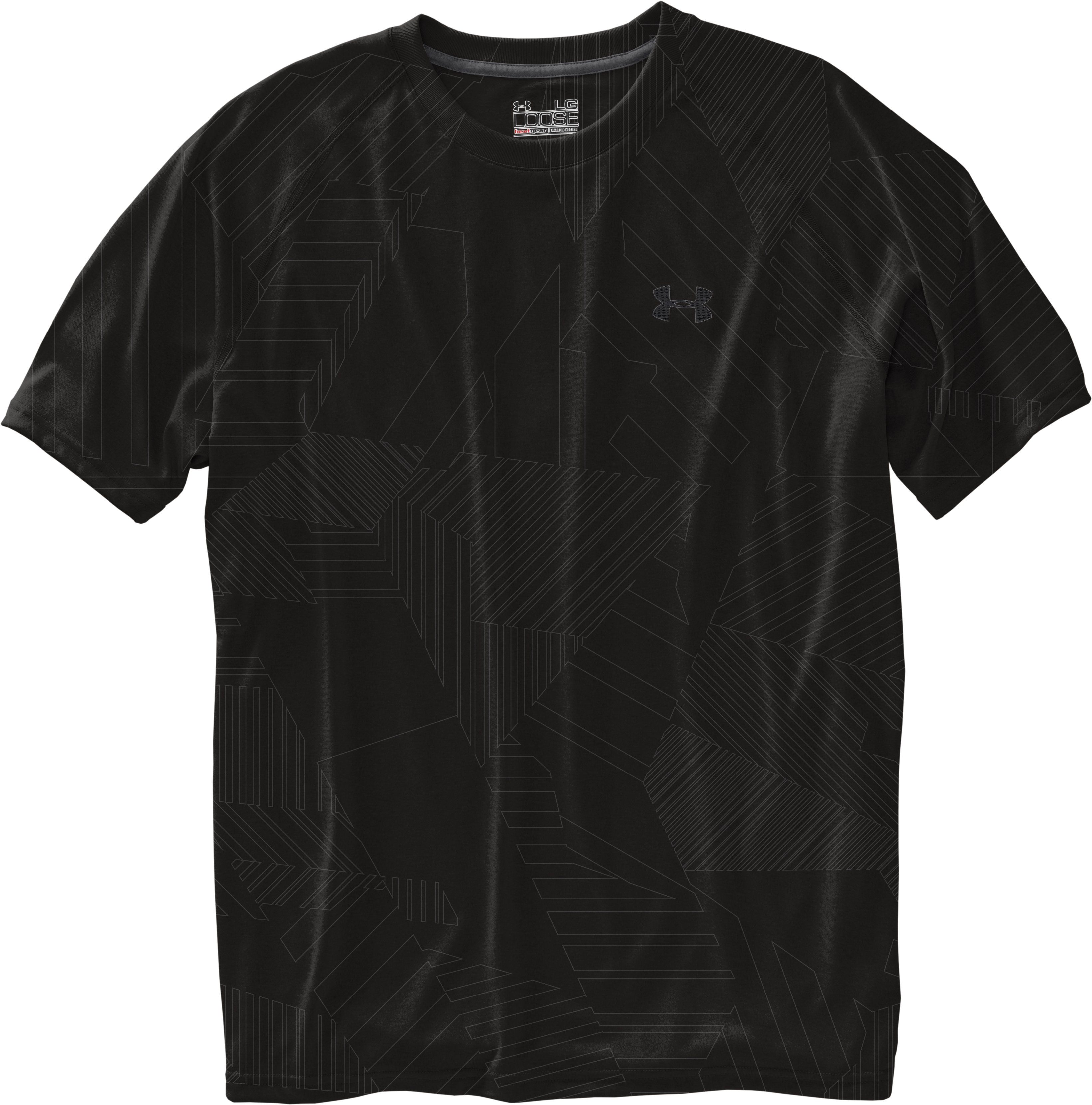 Men's UA Tech™ Patterned Short Sleeve T-Shirt, Black , Laydown