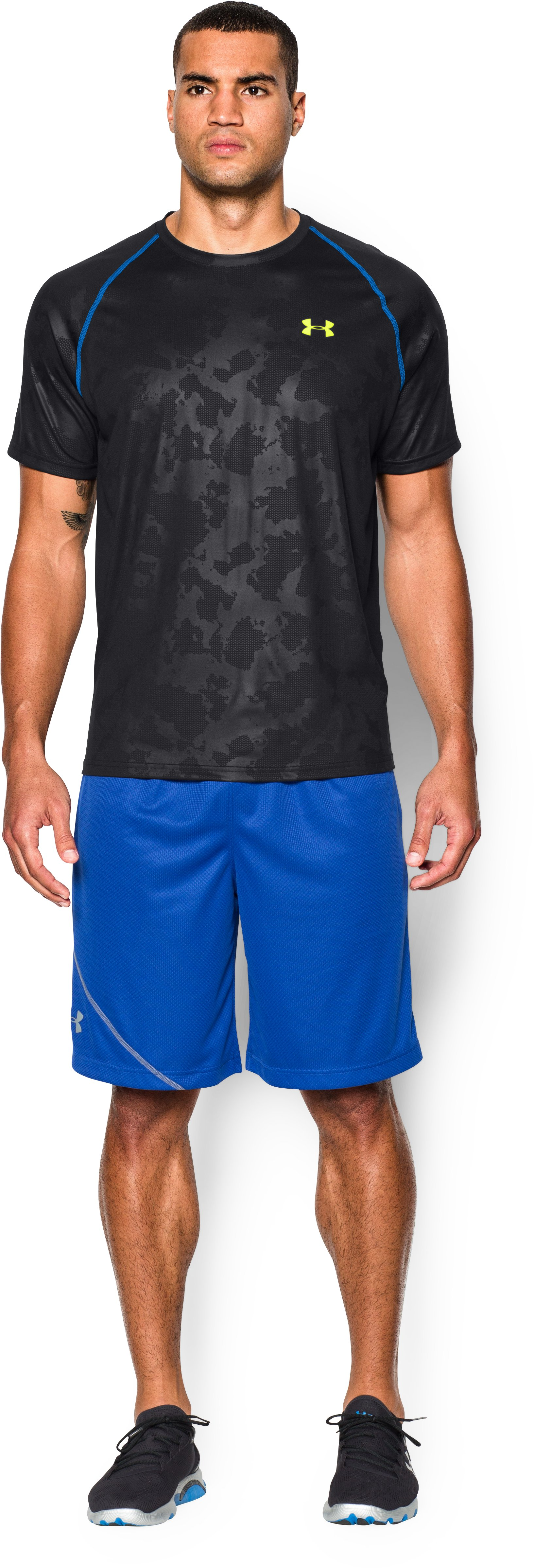 Men's UA Tech™ Patterned T-Shirt, Black , Front