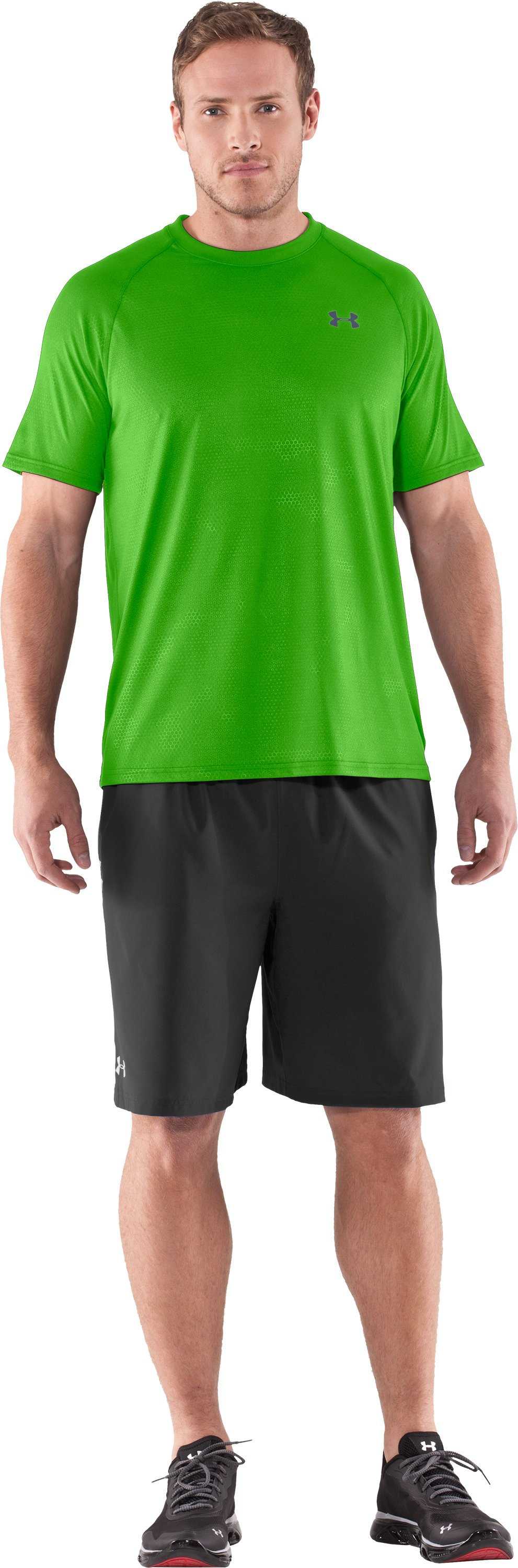 Men's UA Tech™ Patterned T-Shirt, PARROT GREEN, zoomed image