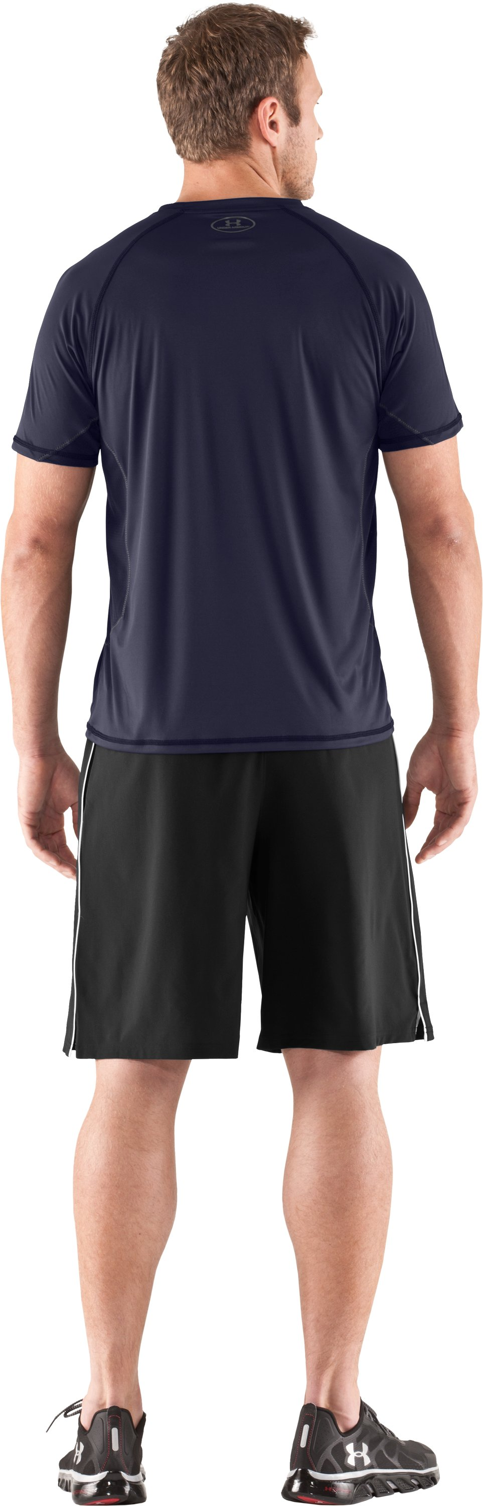Men's HeatGear® Flyweight Short Sleeve, Midnight Navy, Back