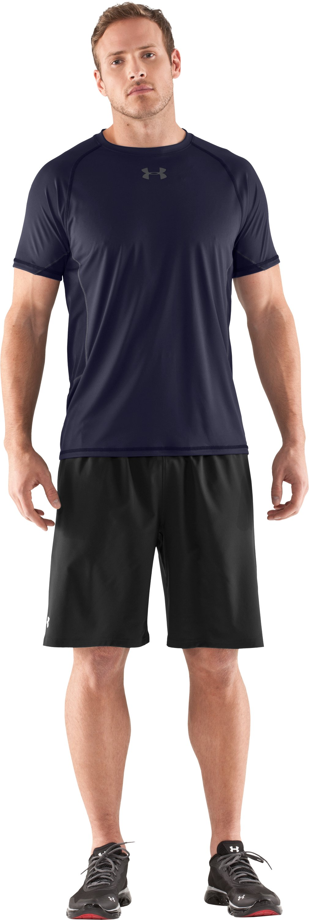 Men's HeatGear® Flyweight Short Sleeve, Midnight Navy, Front