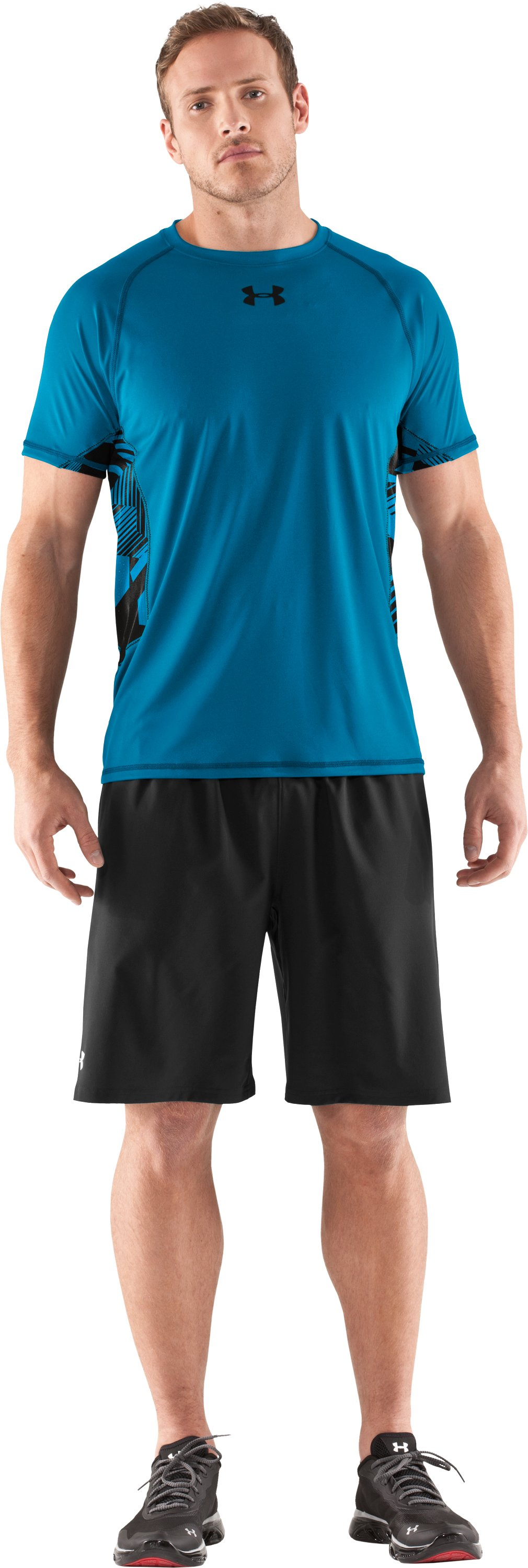 Men's HeatGear® Flyweight Short Sleeve, SNORKEL, Front