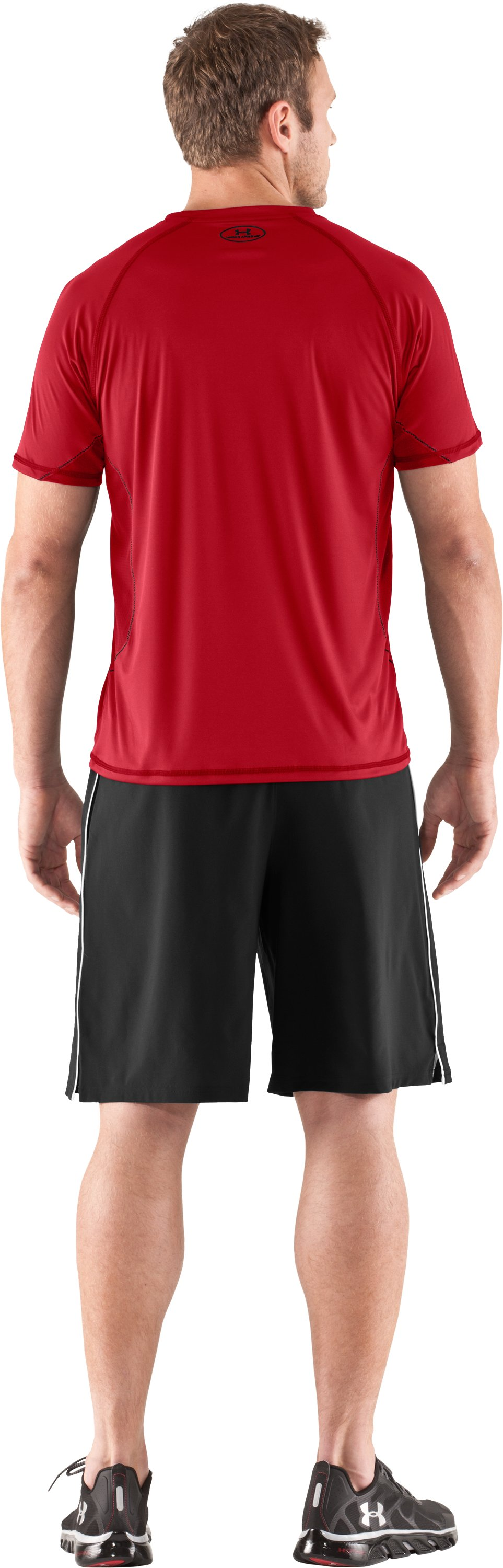 Men's HeatGear® Flyweight Short Sleeve, Red, Back